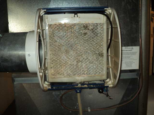 A dirty humidifier found during a home inspection