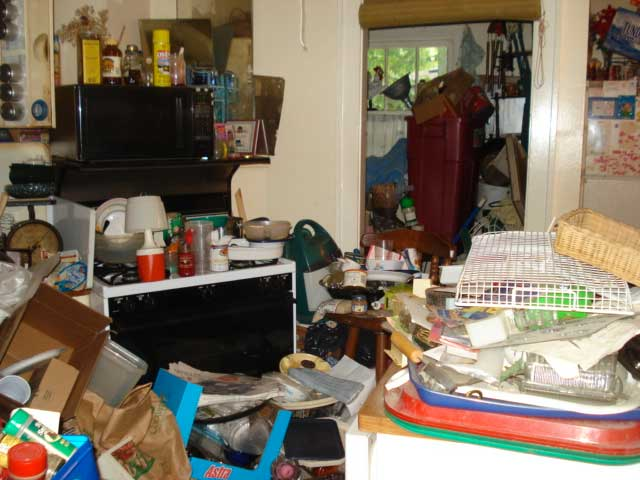 A hoarder's house during a home inspection